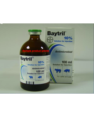Bayer Baytril  10% inj enrofloxacin (dogs cows cats swine etc) 100ml