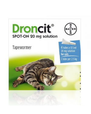 Bayer Droncit spot on for Cats 4x 0.5ml vials